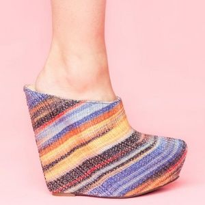 Jeffrey Campbell Zag Platform Wedge Desert Stripe
